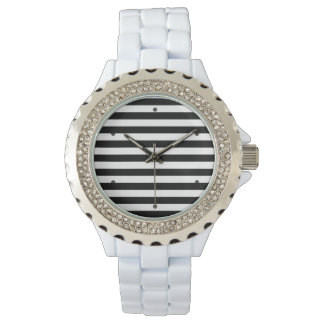 Black and White Stripe Pattern Watches