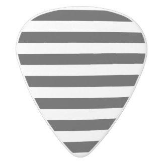 Black and White Stripe Pattern White Delrin Guitar Pick