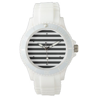 Black and White Stripe Pattern Wristwatch