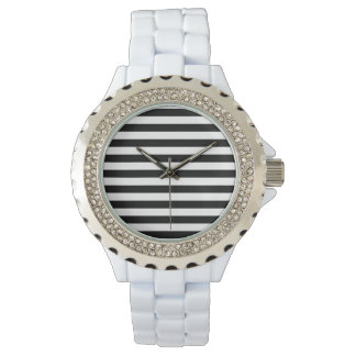 Black and White Stripe Pattern Wristwatches