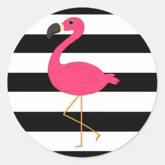 Black and White Stripe Pink Flamingo Classic Round Sticker