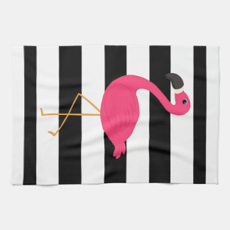 Black and White Stripe Pink Flamingo Hand Towels