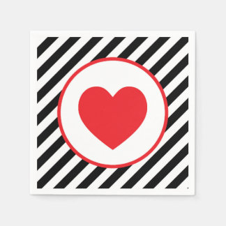 black and white stripe Red Heart Paper Napkins