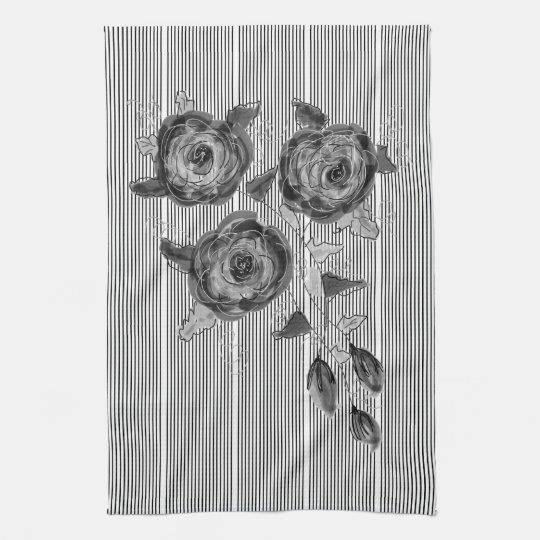 Black And White Stripe Rose Print Towel