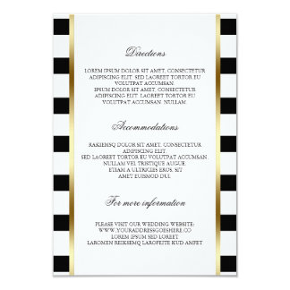 "Black and White Stripe Wedding Details Information 3.5"" X 5"" Invitation Card"