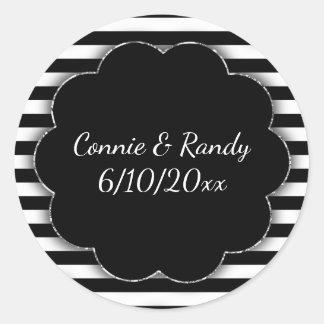 Black and White Stripe Wedding Sticker
