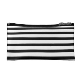 Black and White Striped Cosmetic Bag