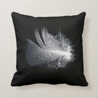 Black and White Striped Feather Floating on a Pond Throw Pillow