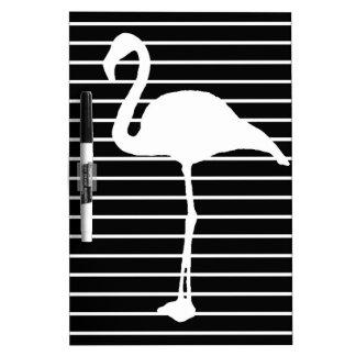 Black and White Striped flamingo Dry Erase White Board