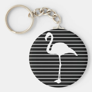 Black and White Striped flamingo Keychain