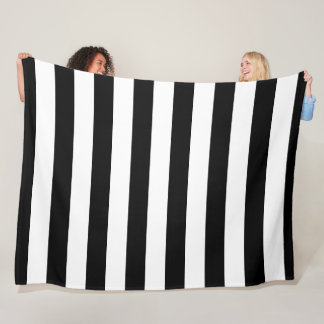 Black and White Striped Fleece Blanket