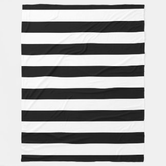 Black and White Striped Fleece Blanket