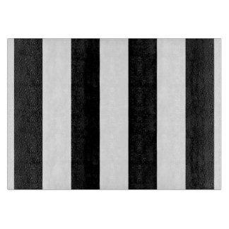 Black and White Striped Glass Cutting Board