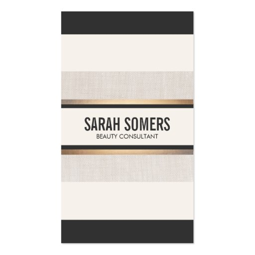 Black and White Striped Gold Chic Professional Business Card Templates