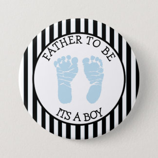 """Black and White Striped """"Its a Boy"""" Shower Button"""