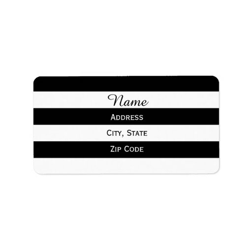Black and White Striped Labels
