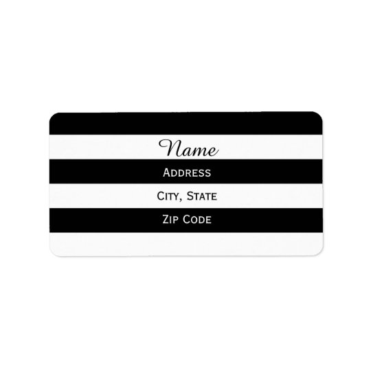 Black and White Striped Label