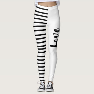 Black and White Striped Love Leggings