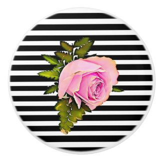 Black and White Striped Modern Rose Knob