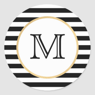 Black and White Striped Monogram Stickers - Gold