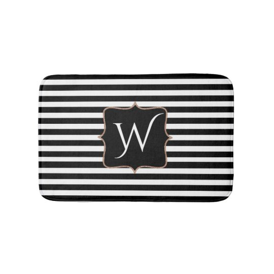 Black and White Striped Monogrammed Bath Mat