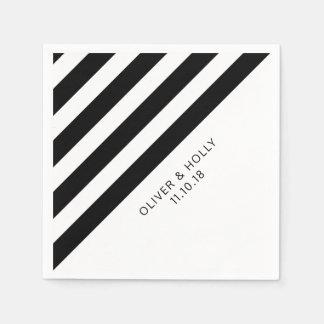 Black and white striped napkins paper napkin