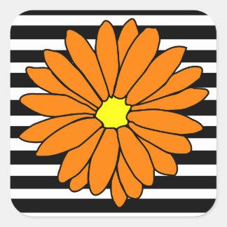 Black and White Striped Orange Flower Stickers