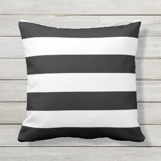 Black-and-White Striped Outdoor Throw Pillow