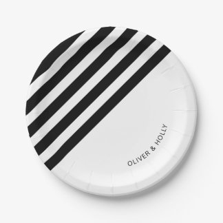 Black and white striped paper plate