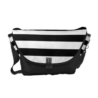Black and White Striped Pattern Courier Bags