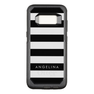 Black and White Striped Pattern Custom Name