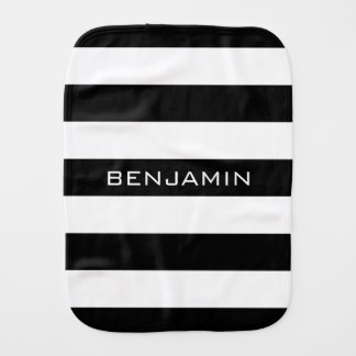 Black and White Striped Pattern Custom Name Burp Cloth