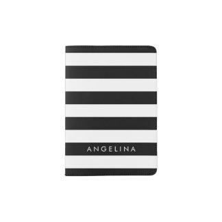 Black and White Striped Pattern Custom Name Passport Holder