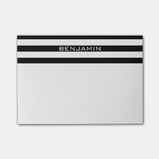 Black and White Striped Pattern Custom Name Post-it® Notes