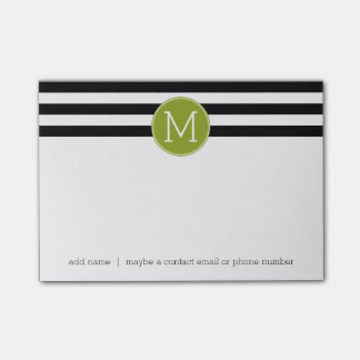 Black and White Striped Pattern Green Monogram Post-it Notes