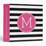 Black and White Striped Pattern Hot Pink Monogram Binders