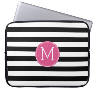 Black and White Striped Pattern Hot Pink Monogram Laptop Sleeve