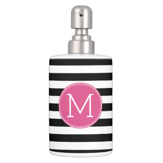 Black and White Striped Pattern Hot Pink Monogram Soap Dispenser And Toothbrush Holder