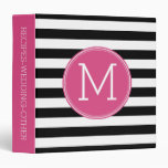 Black and White Striped Pattern Hot Pink Monogram Vinyl Binder