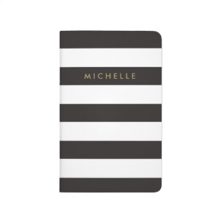 Black and White Striped Personalized Journal