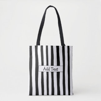 Black and White Striped Personalized Tote Bag