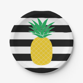Black and White Striped Pineapple Tropical Paper Plate