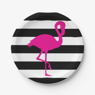 Black and White Striped Pink Flamingo Paper Plate
