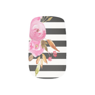 Black and White Striped Pink Flowers Chic Nail Stickers