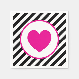 black and white striped Pink Heart Paper Napkin