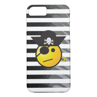Black and White Striped Pirate Emoji iPhone Case