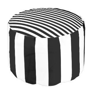 Black and White Striped Pouf