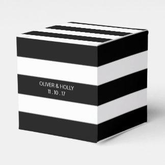 Black and white striped wedding favor box