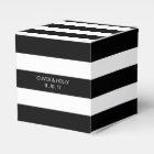 Black and white striped wedding favour box