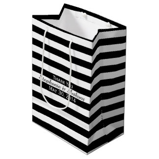 Black and White Striped Wedding Medium Gift Bag